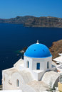 Classic Santorini - Blue Roof Church, White Wash Walls Greece Royalty Free Stock Photo