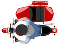 Classic side car motorcycle with rider isolated top view Royalty Free Stock Photo