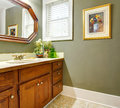 Classic simple green bathroom with wood cabinets. Royalty Free Stock Photo