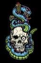 Classic skull tattoo design snake dagger Stock Image