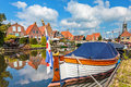 Classic sloop in hindeloopen the netherlands frisian village of Stock Photos