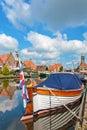 Classic sloop in hindeloopen the netherlands frisian village of Stock Image