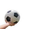 Classic soccer ball on hand with white background Stock Image