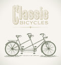 Classic tandem bicycle vintage illustration with a editable layered vector Royalty Free Stock Image