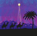 Classic three wise men scene and shining star of Bethlehem