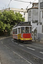 Classic tram in Lisbon street. Stock Photography