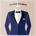 Classic tuxedo suit with bow and black collar for elegant man vector illustration Stock Photography