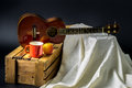Classic ukulele still life on stand Royalty Free Stock Photos