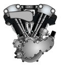 Classic v twin motorcycle engine in vector Stock Photos