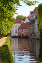 Classic view of channels of Bruges. Royalty Free Stock Photo