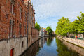 Classic view of channels of Bruges Stock Photo