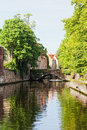 Classic view of channels of Bruges Royalty Free Stock Photo