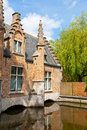 Classic view of channels of Bruges. Royalty Free Stock Image