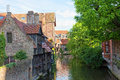 Classic view of channels of Bruges. Belgium Stock Photos
