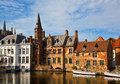 Classic view of channels of Bruges. Belgium. Royalty Free Stock Photo