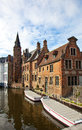 Classic view of channels of Bruges. Belgium. Stock Photography