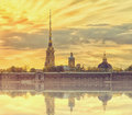 Classic view of Saint-Petersburg river scape at sunset, Peter and Paul fortress Royalty Free Stock Photo