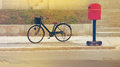 Classic vintage retro bicycle on street