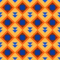 Classic vintage seamless pattern with abstract geometry texture. Golden orange yellow blue brown triangle square background. Can Royalty Free Stock Photo