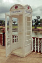 Classic vintage white phone booth Royalty Free Stock Photo