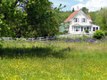Classic white New England House, Stock Photography