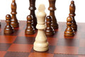 Classic Wooden Chessboard with Chess Pieces Stock Photos