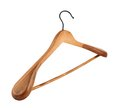 Classic wooden coat hanger isolated over white background Stock Image