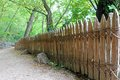 Classic wooden fence with no nails screws that doesn t use any nor Royalty Free Stock Image