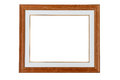 Classic wooden frame isolated white background Royalty Free Stock Image