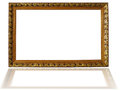 Classic wooden frame isolated on white background golden Stock Photos