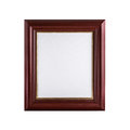Classic wooden picture frame with blank canvas isolated on white Royalty Free Stock Photo