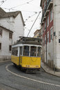 Classic yellow tram in Lisbon. Royalty Free Stock Photography