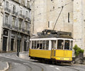 Classic yellow tram of Lisbon, Portugal Royalty Free Stock Images