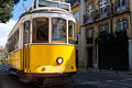 Classic yellow tram of Lisbon, Portugal Royalty Free Stock Image