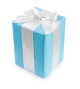 classical blue gift box with white ribbon bow Royalty Free Stock Photo
