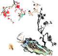 Classical china flower and bird my art work from the view of the plum blossom orchid stone Royalty Free Stock Photos