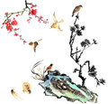 Classical china flower and bird my art work from the view of the plum blossom orchid stone Stock Images