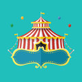 Classical Circus tent with banner for text, Vector illustration Royalty Free Stock Photo