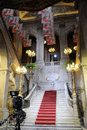 Classical city hall marble staircase tv camera prepared for live broadcast of lisbon s municipal holiday festivities which include Stock Photos