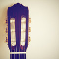 Classical guitar head with retro effect filter Royalty Free Stock Image
