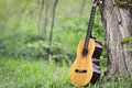 Classical guitar in park leaning against tree Royalty Free Stock Photos