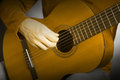 Classical guitar string details strings guitarist hands playing acoustic musical instrument Stock Photos