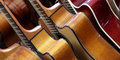 Classical guitars lined up in a row Stock Photography