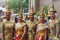 Classical khmer cambodian dancers female from the american heritage dance troupe dressed in brightly colored gold silk Stock Photo