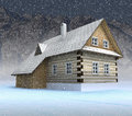 Classical mountain cabin at night snowfall Stock Images