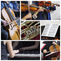 Classical music collage a of photos about theme Stock Image