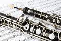 Classical music instruments oboe playing musical instrument with sheet notes Stock Images