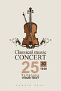 Classical music poster for a concert of with violin Stock Image