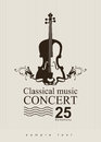 Classical music poster for a concert of with violin Stock Photo