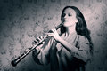 Classical musician oboe playing Royalty Free Stock Photo